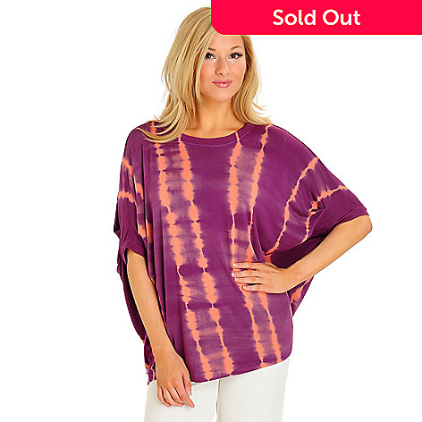 702-849 - OSO Casuals Stretch Knit Dolman Sleeved Tie-dyed Top