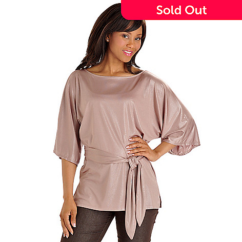 702-862 - aDRESSing WOMAN Dolman Sleeve Dayshine Knit Tunic w/ Tie Belt