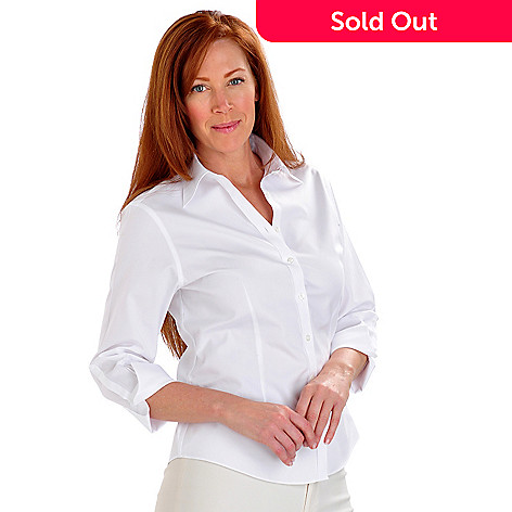 702-890 - Brooks Brothers 100% Cotton 3/4 Sleeved Button-down Non-Iron Blouse