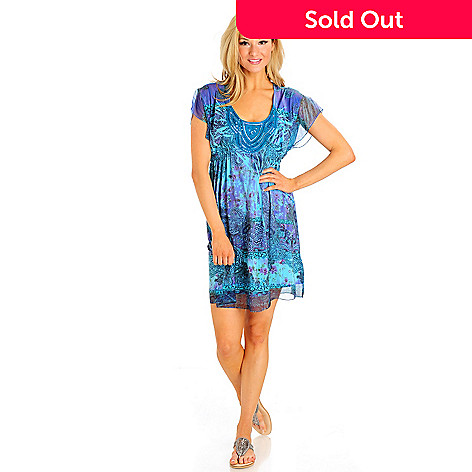702-938 - One World Flutter Sleeved Sequin Applique Scoop Neck Flip Flop Dress