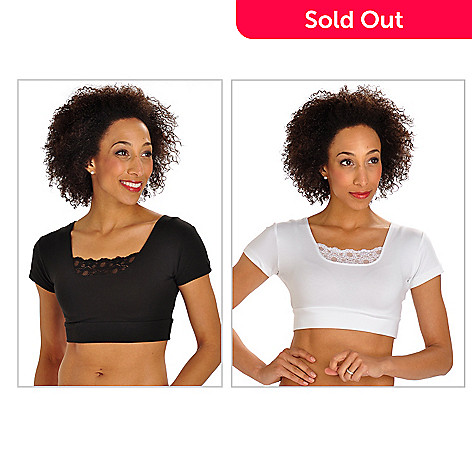 702-948 - Halftee™ Set of Two Short Sleeved Lace Detailed Layering Tops