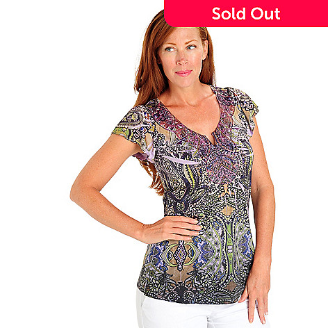 702-952 - One World Micro Jersey Flutter Sleeve Applique & Studded Scoop Neck Top