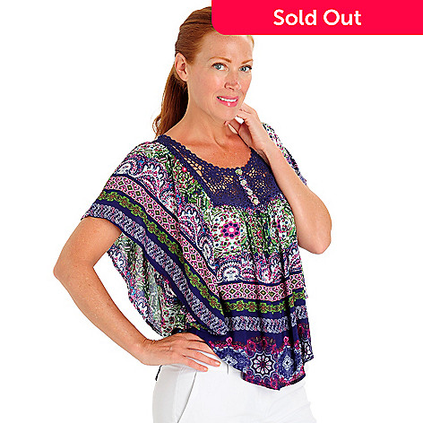 702-955 - One World Print Challis Butterfly Sleeved Crochet Bib Scoop Neck Top