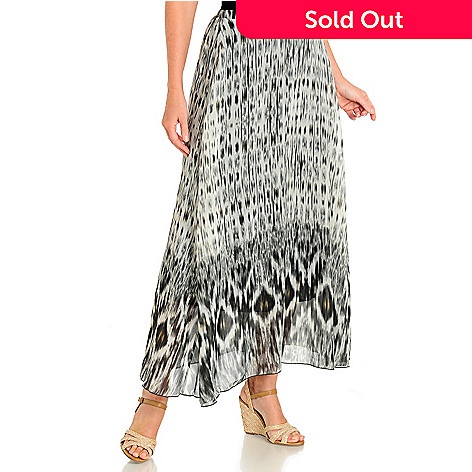 702-963 - One World Layered Woven Elastic Back Printed Maxi Skirt