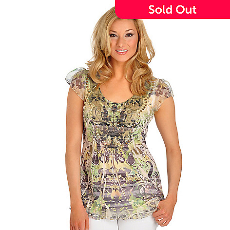 702-965 - One World Printed Knit Flutter Sleeved Rhinestone Detail Mesh Applique Top