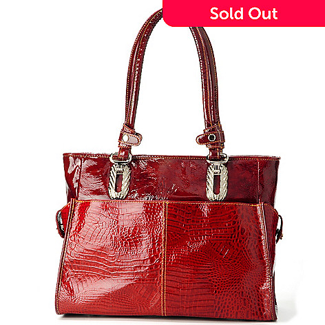 703-287 - Madi Claire ''Clifton'' Croco Embossed Leather Double Handle Tote
