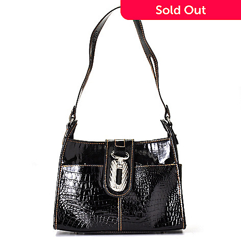 703-288 - Madi Claire ''Clifton'' Rhinestone Detail Croco Embossed Patent Leather Shoulder Handbag