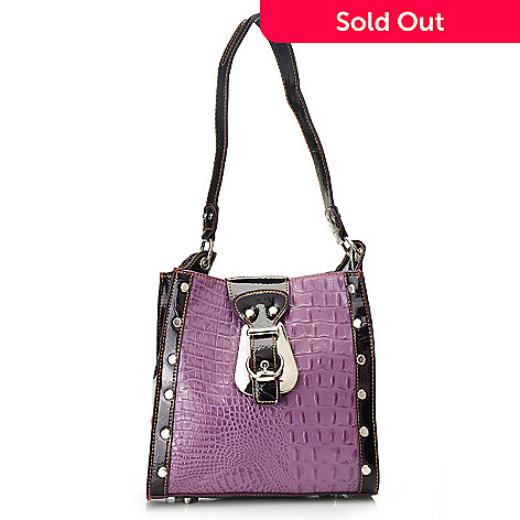703-294 - Madi Claire ''Lampasa'' Croco Embossed Leather Buckle Detailed Small Tote Bag