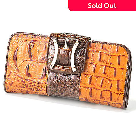 703-358 - Madi Claire Buckle Detail Croco Embossed Leather Wallet