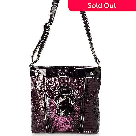 703-416 - Madi Claire ''Brook'' Croco Embossed Leather Cross Body