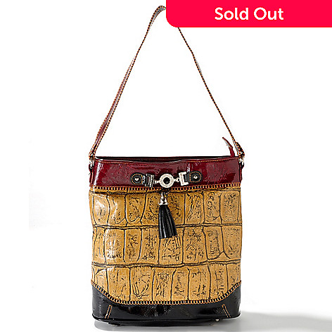 703-431 - Madi Claire ''Donna'' Glazed Trim Croco Embossed Leather Dome Shoulder Handbag