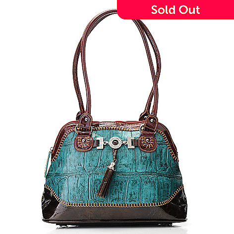 703-432 - Madi Claire Croco Embossed Leather Jumbo Tasseled Dome Satchel