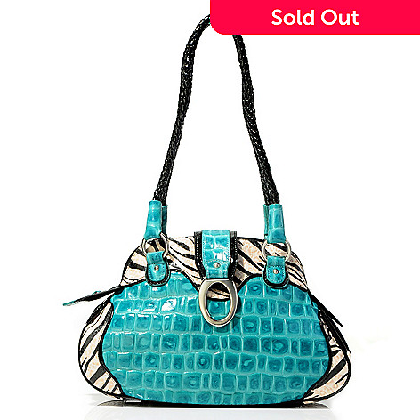 703-450 - Madi Claire ''Sebra'' Croco Embossed Leather Dome Satchel