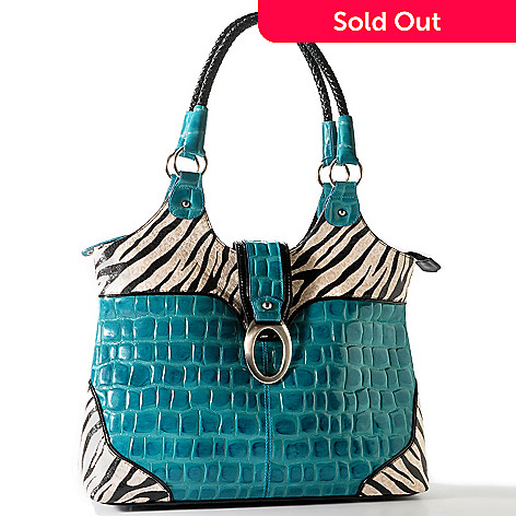 703-451 - Madi Claire ''Sebra'' Zebra Print Trim Croco Embossed Leather Tote