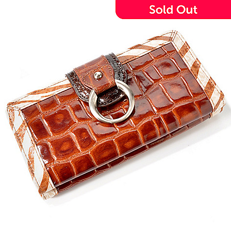 703-452 - Madi Claire ''Sebra'' Zebra Print Trim Croco Embossed Leather Wallet