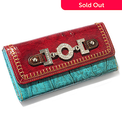 703-473 - Madi Claire ''Donna'' Jumbo Croco Embossed Leather Wallet