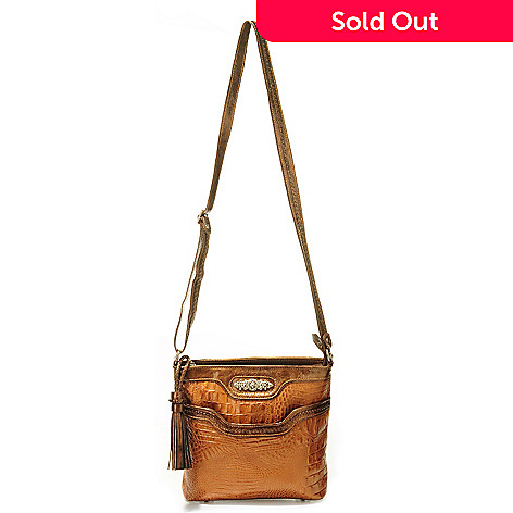 703-568 - Madi Claire Croco Embossed Leather & Patent Cross Body Bag