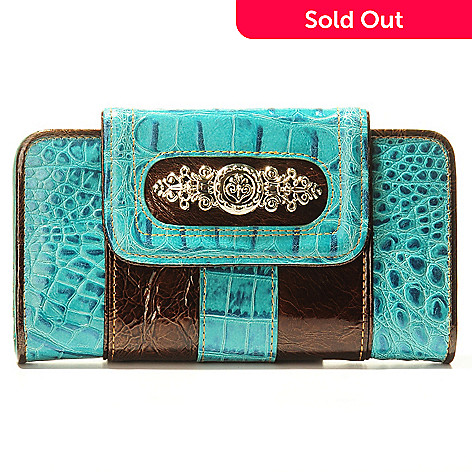 703-595 - Madi Claire Croco Embossed Leather & Patent Wallet