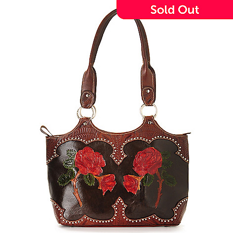 703-697 - American West Hand-Tooled Leather ''Roses are Red'' Tote Bag