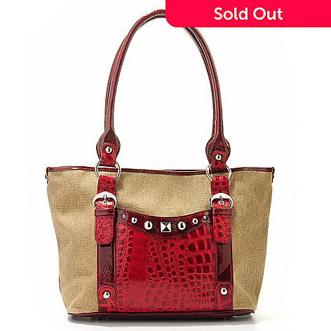 703-800 - Madi Claire Jute & Croco Embossed Leather ''Madelyn'' Tote Bag