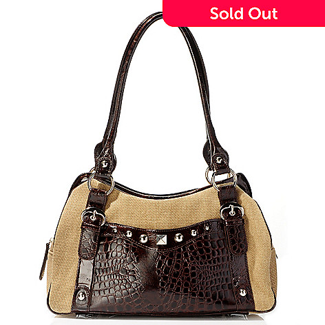 703-834 - Madi Claire ''Madelyn'' Stud Trim Croco Embossed Leather Trim Jute Shoulder Handbag