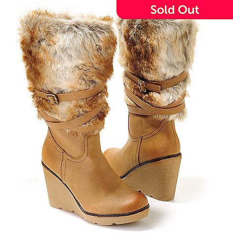 703-868 - Volatile ''Brimstone'' Faux Fur Trim Belt/Buckle Detail Wedge Mid-Calf Boots