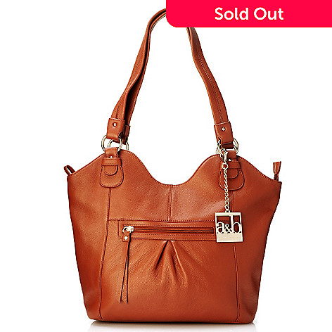 703-882 - Amelia & Blake Top Zip Pebbled Leather Tote Bag