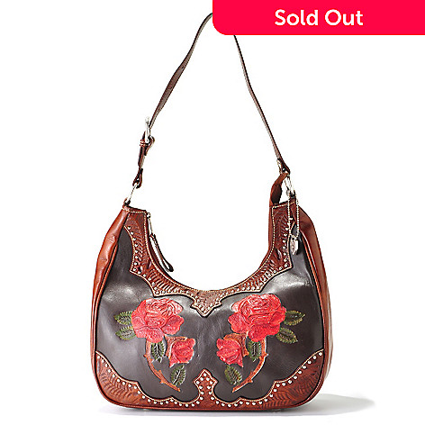 703-960 - American West ''Roses are Red'' Scoop Top Hand Tooled Leather Hobo Bag