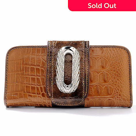 703-978 - Madi Claire Rhinestone Ornament Croco Embossed Leather Wallet