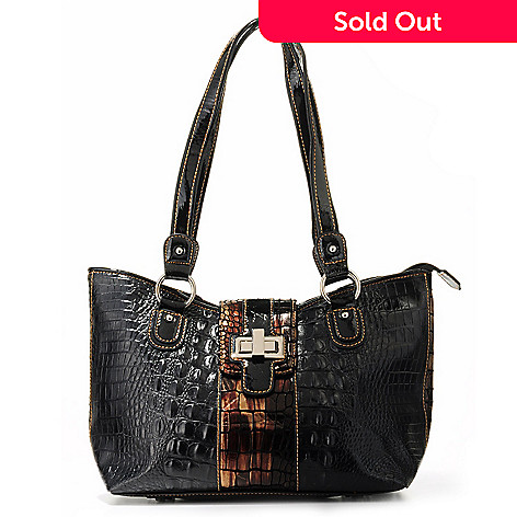 703-979 - Madi Claire ''Riley'' Turn Lock Closure Reptile Trim Croco Embossed Leather Shoulder Handbag