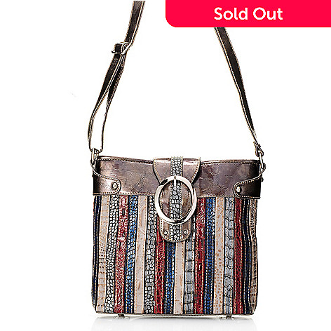 703-983 - Madi Claire ''Chloe'' Croco Embossed Leather Striped Messenger Bag