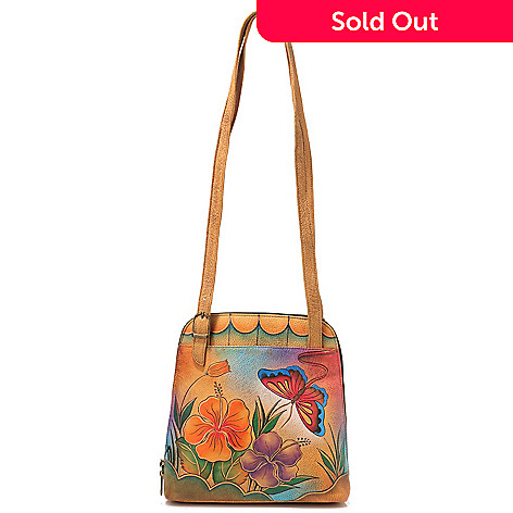703-986 - Anuschka Hand Painted Leather Zip Around Satchel