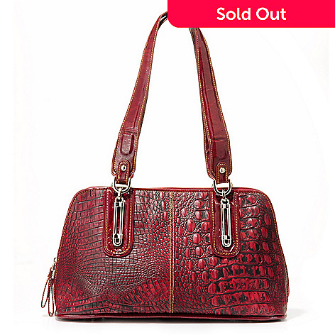 704-013 - Madi Claire ''Serena'' Hardware Detail Croco Embossed Leather Dome Handbag
