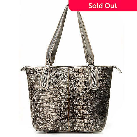 704-014 - Madi Claire ''Serena'' Matte Croco Embossed Leather Tote Bag