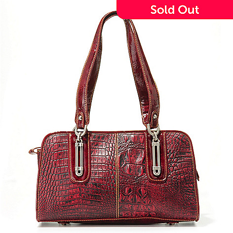 704-015 - Madi Claire ''Serena'' Hardware Detail Croco Embossed Leather Satchel Handbag