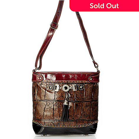 704-018 - Madi Claire ''Zoey'' Rhinestone & Tassel Detail Croco Embossed Leather Cross Body Handbag