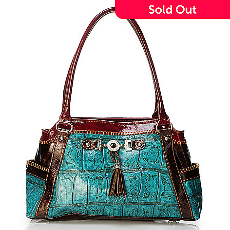 704-019 - Madi Claire ''Zoey'' Croco Embossed Leather Tote Bag