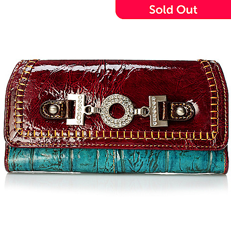 704-021 - Madi Claire ''Zoey'' Croco Embossed Leather Tri-Fold Wallet