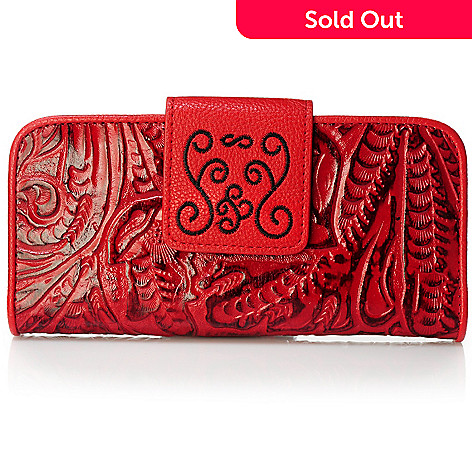 704-023 - Madi Claire Tool Embossed Leather Wildflower Wallet