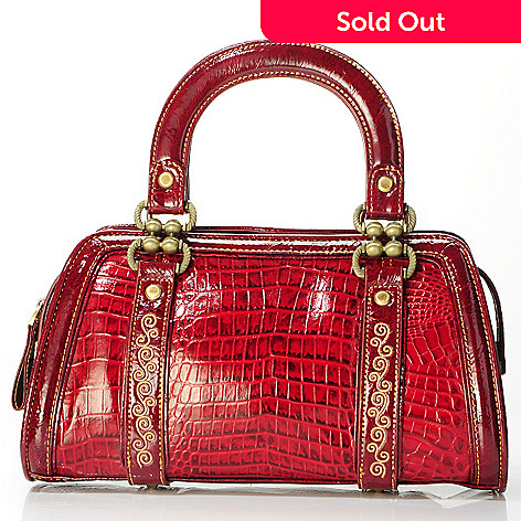 704-027 - Madi Claire ''Kaylee'' Embroidery Detail Croco Embossed Top Handle Leather Handbag