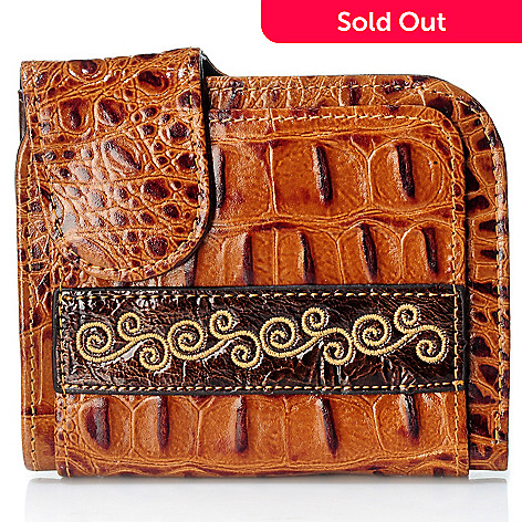 704-028 - Madi Claire ''Kaylee'' Embroidery Detail Croco Embossed Wallet