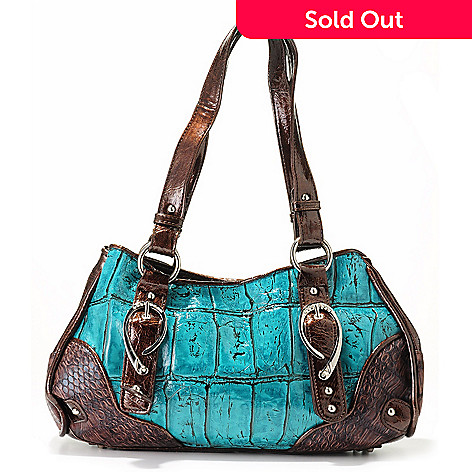 704-033 - Madi Claire ''Ava'' Rhinestone Encrusted Buckle Croco Embossed Leather East-West Shoulder Bag