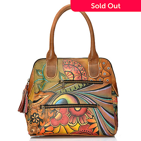 704-075 - Anuschka Hand-Painted Leather Multi Pocket Zip Top Satchel