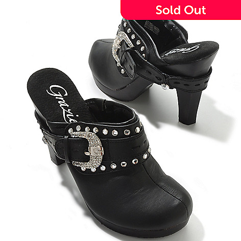 704-088 - Grazie ''Cammie'' Rhinestone Trim Buckle Detail High Heel Clogs