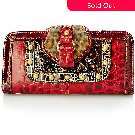 704-152 - Madi Claire Croco Embossed Leather Flap-Over Studded Wallet
