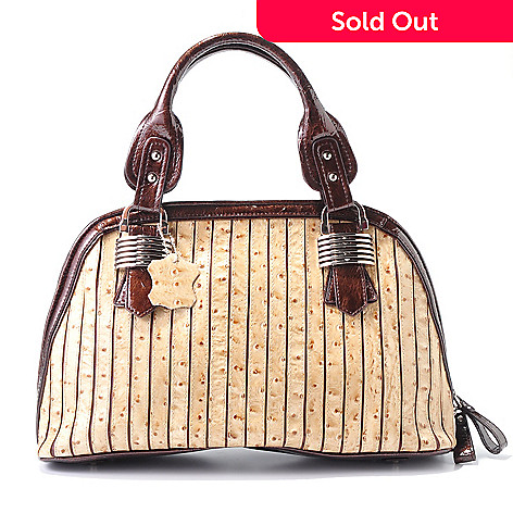 704-154 - Madi Claire ''Sabrina'' Ostrich Embossed Leather Dome Satchel Handbag