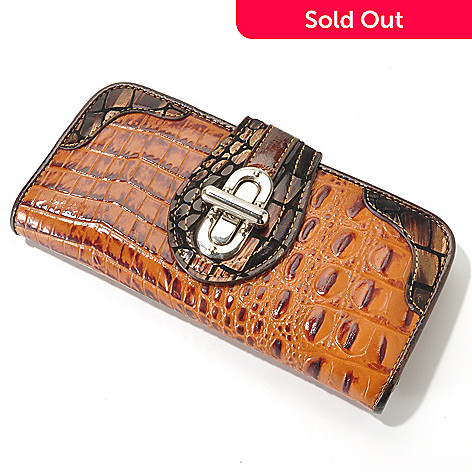 704-155 - Madi Claire Croco Embossed Leather ''Elyse'' Metallic Trim Wallet