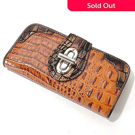 704-155 - Madi Claire Croco Embossed Leather ''Elyse'' Metallic Trim Wallet