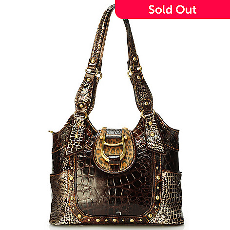 704-156 - Madi Claire Croco Embossed Leather ''Cheyenne'' Tote Bag