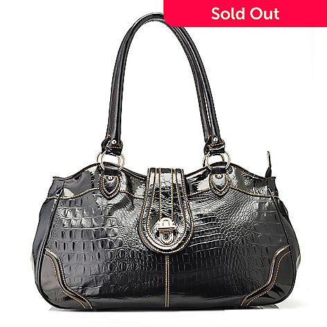 704-159 - Madi Claire Croco Embossed Leather ''Elyse'' Satchel